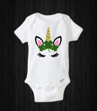 St Patrick's Day Shamrock Unicorn Baby Girl Onesie Shirt