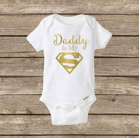 Daddy Is My Superhero Superman Baby Onesie, Baby Shower, Father's Day