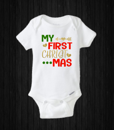 My First Christmas Baby Holiday Onesie Shirt