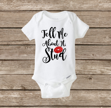 Tell me about it Stud, Baby Girl Onesie, Grease Baby, Pink Ladies, Glitter Red Lips