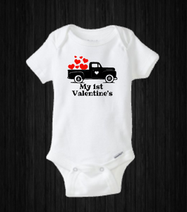 My First Valentine's Day, Baby Truck Heart Love Onesie