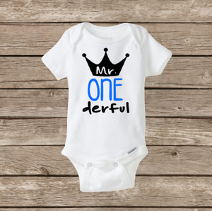 Mr ONE Derful Baby Onesie Birthday Boy My First