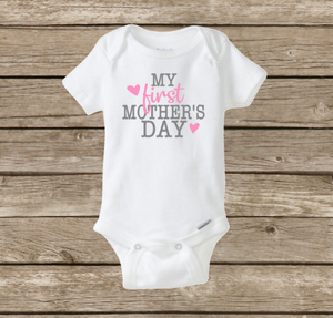 My First Mother's Day Baby Onesie, Baby Shower, Boy or Girl, Holiday