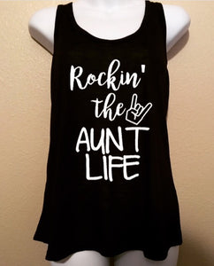 Women's Tank Top, Rockin the Aunt Life, I Love My Aunt, Proud Aunt, Rock n Roll
