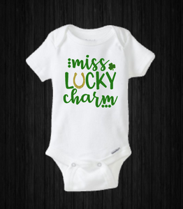 Miss Lucky Charm, Baby Girl St Patricks Day Onesie