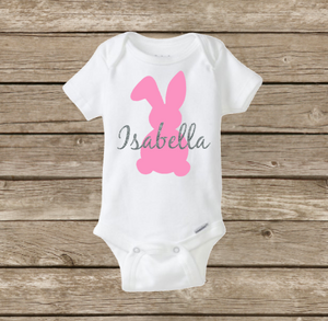 First Easter Bunny Rabbit, Baby Girl Personalized Onesie Shirt