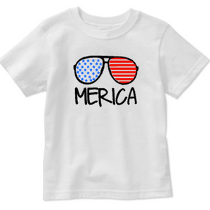 Toddler Kids Baby Merica Shirt, Fourth of July Patriotic Sunglasses