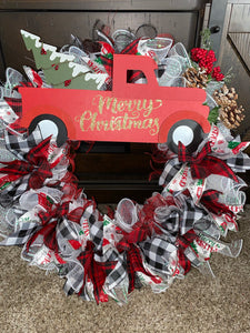 Merry Christmas Old Fashioned Red Truck Handmade Wreath