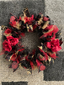 Halloween Skull Wreath Red and Gold