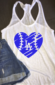 Women's LA Dodger Heart Tank Top, Baseball