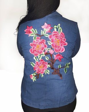 Denim Flowered Blazer - GlogeStore