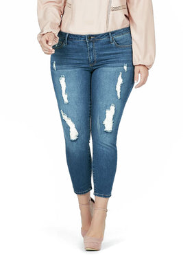 Yves Distressed Skinny Ankle Grazer