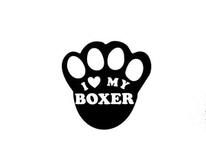 I Love My Boxer Paw Print Vinyl Decal