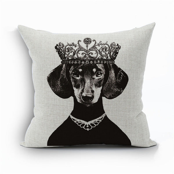 Dachshund Vintage Linen Pillow Covers