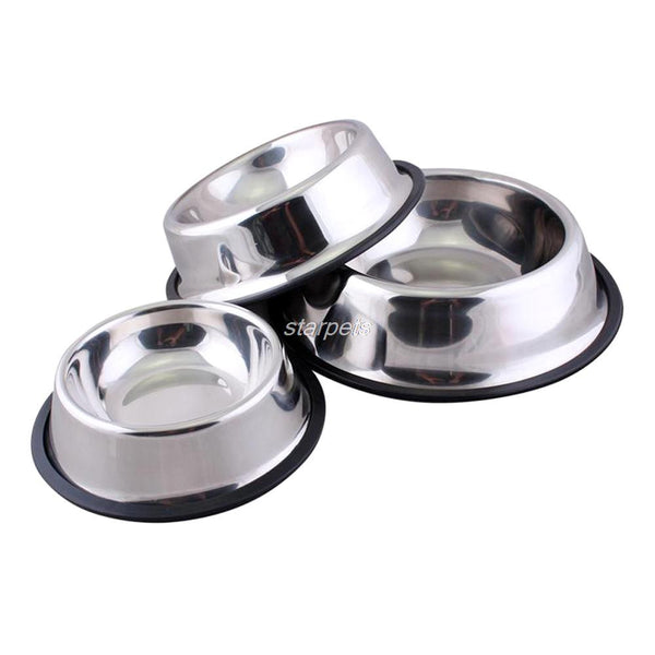 Generic Stainless Steel No-Slip Dog Bowls (6 Sizes)