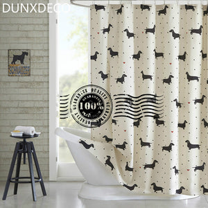 Dachshund Dot Print Polyester Shower Curtain