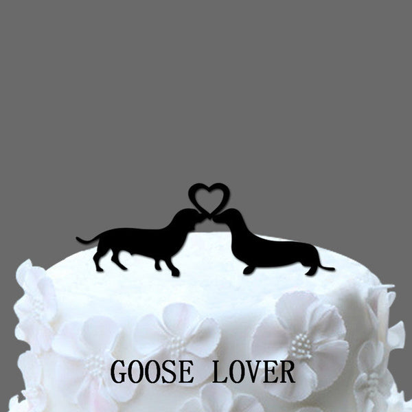 Dachshund Cake Topper With Heart