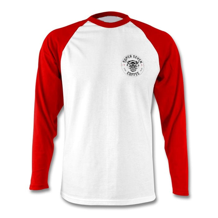 White with Red Long sleeve baseball top