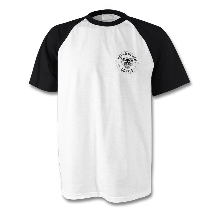 White with black short sleeve baseball t shirt