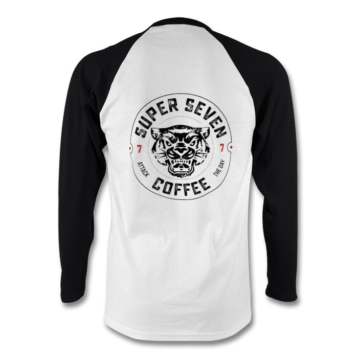 White with Black Long sleeve baseball top