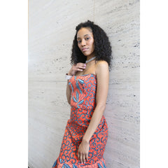 Coral and Denim Formal Ankara Dress