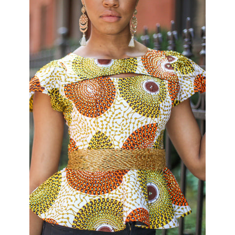 Sea Blue and Orange Ankara Beaded Peplum Top