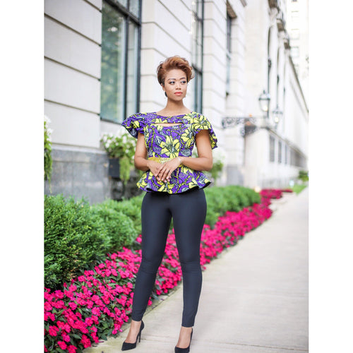 Beaded and Stoned Purple Ankara Peplum Top