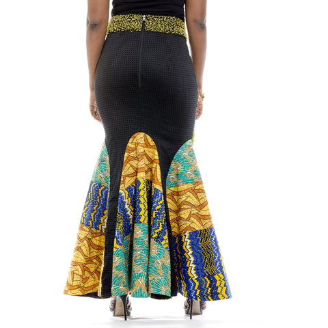 Ankara Red & Blue Multiple Patterned Skirt