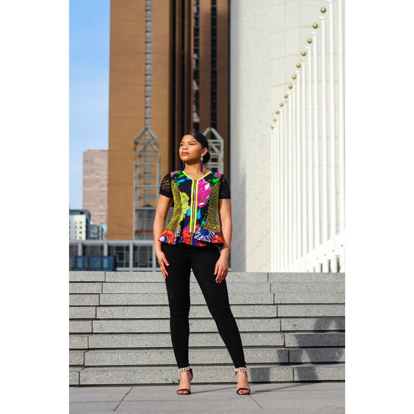 Multi Patterned Peplum Jacket