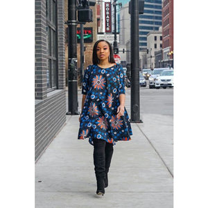 Blue Floral Ankara  Printed Round Neck Dress