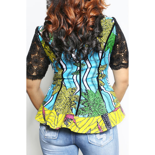 Ankara Lace Sleeve Peplum Jacket