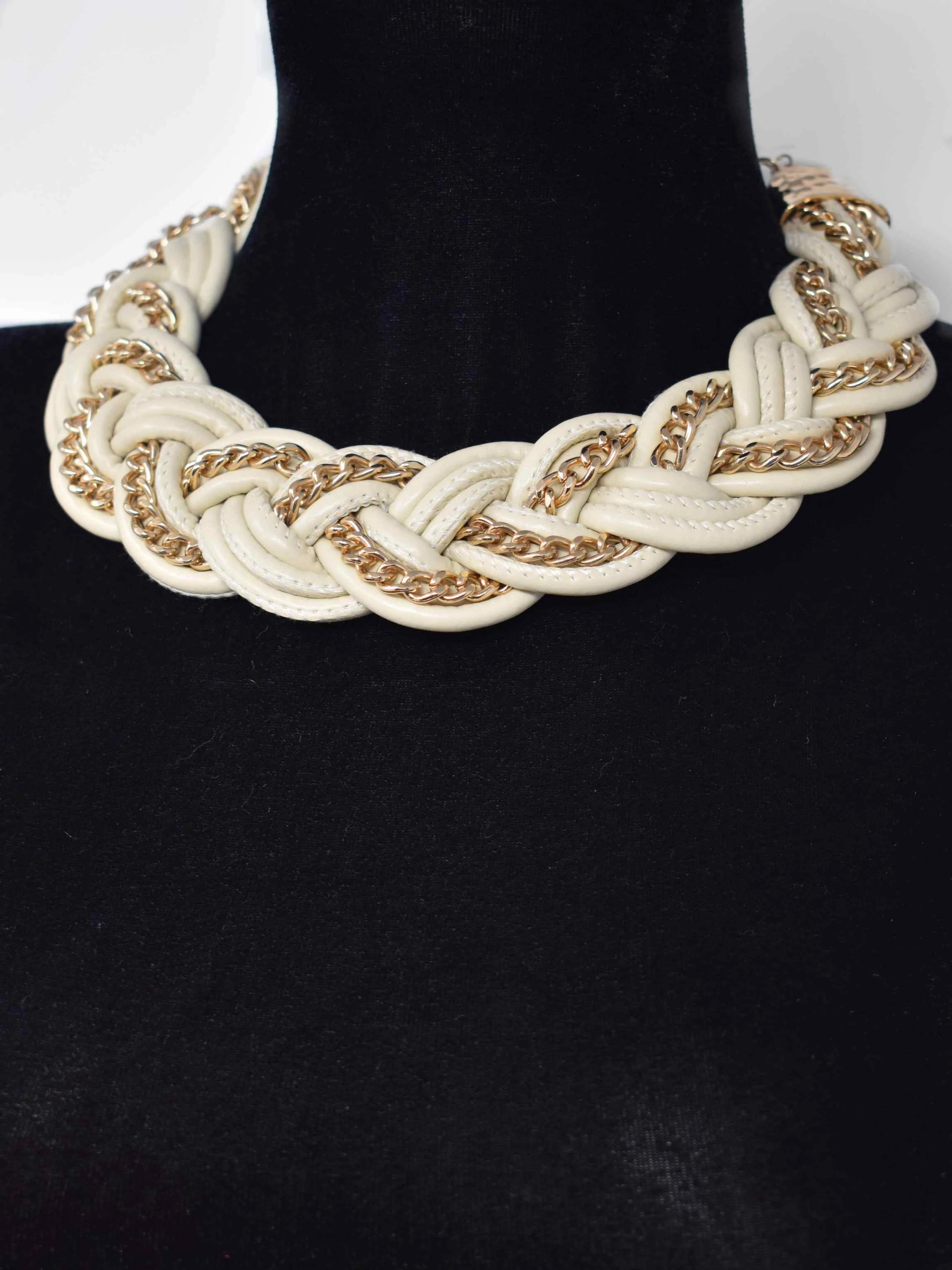 Agera Cream and Gold Braided Statement Necklace