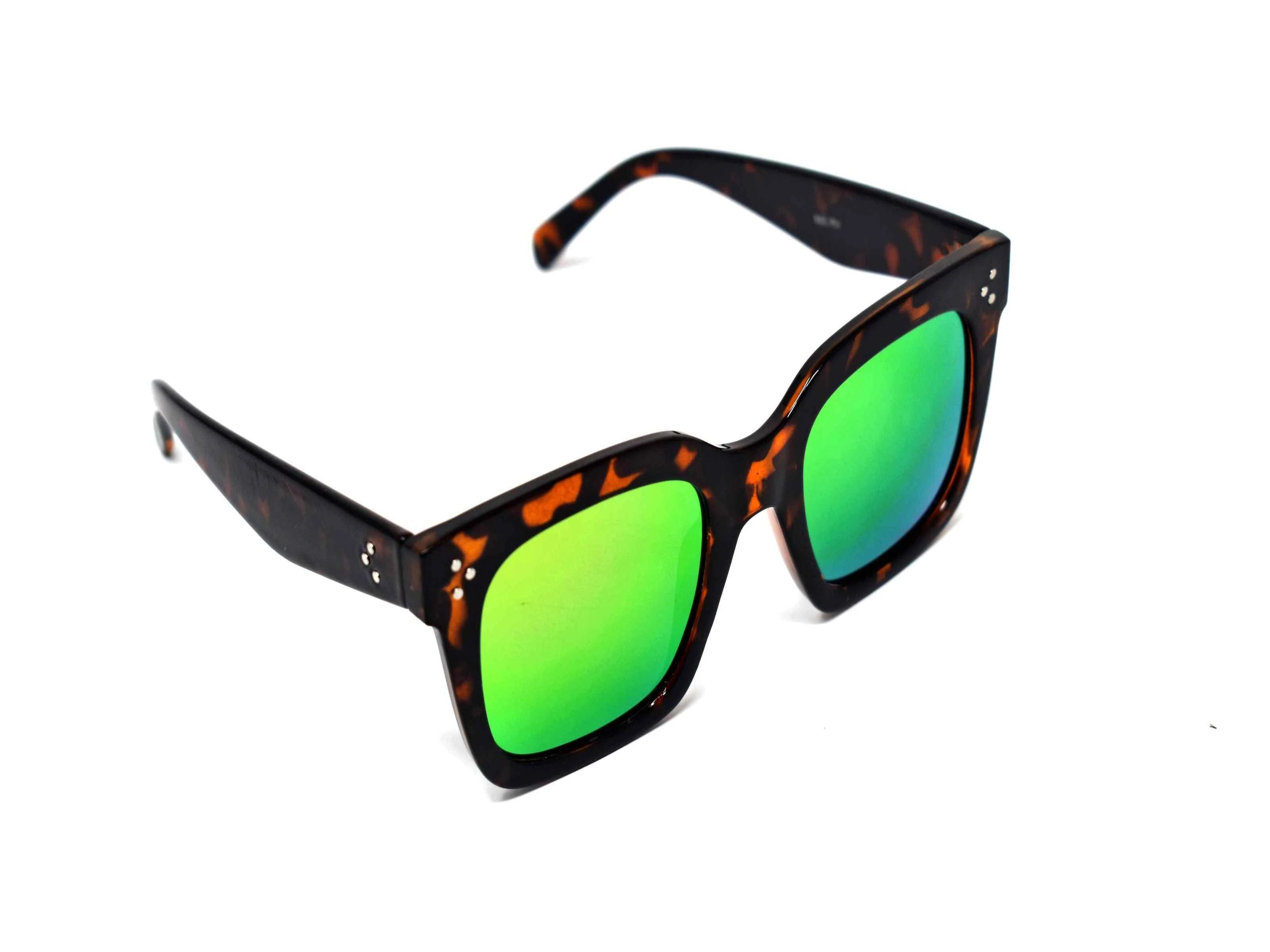 Cool and Classic you can always depend on our Amaranth Leopard framed sunglasses with a green and hint of rust mirrored lens in a wayfarer shape.