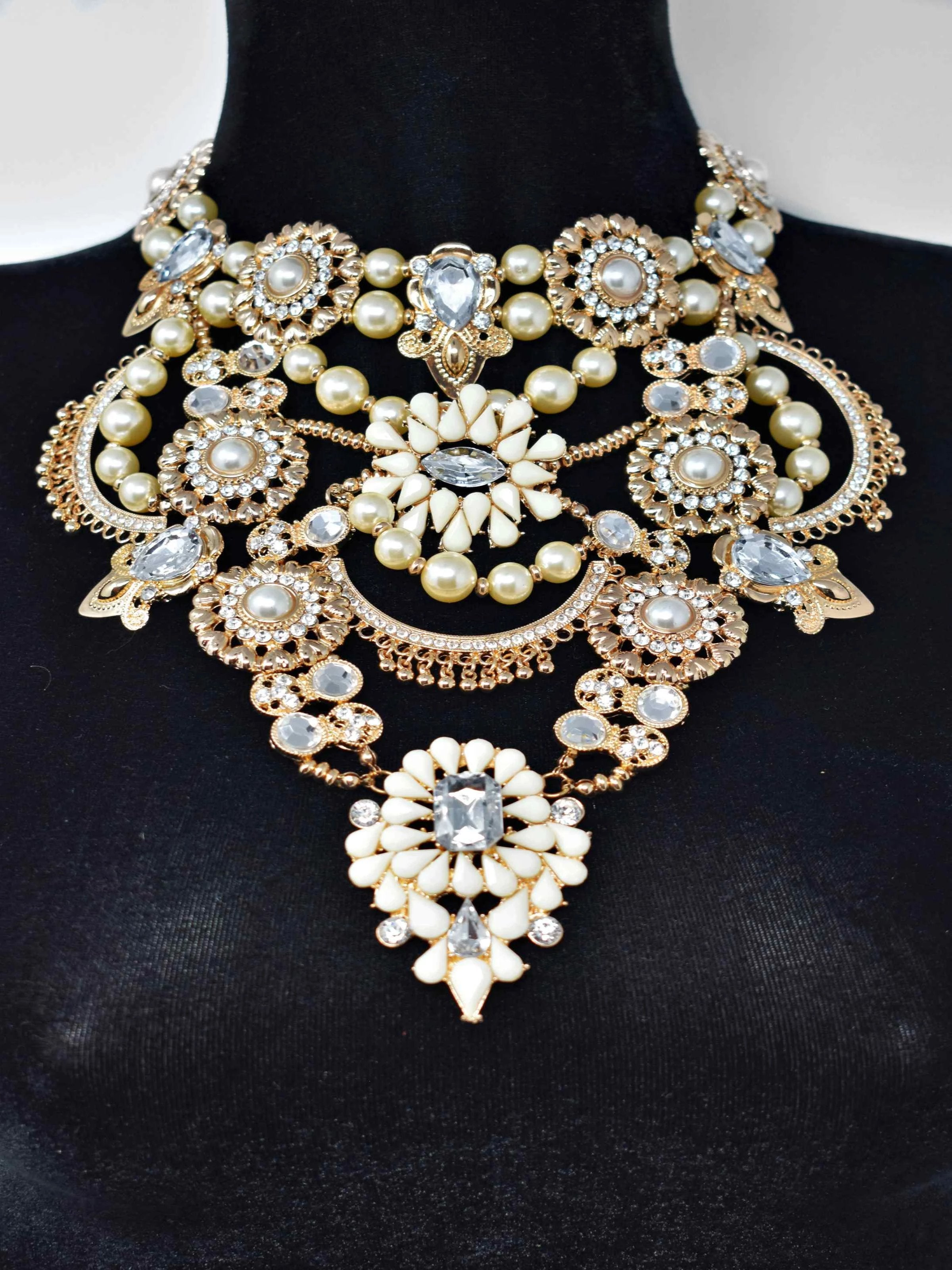 Angel Gold and Pearl Statement Necklace