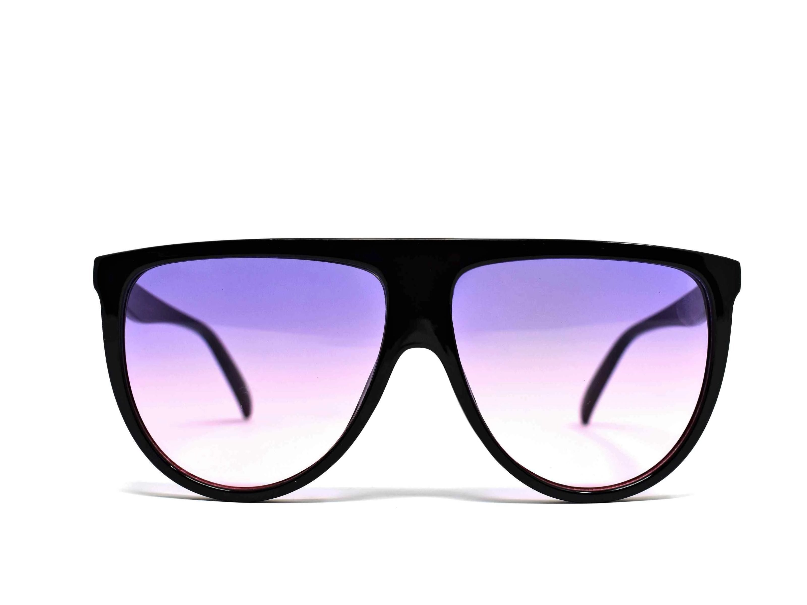 Include our sleek Begonia black wayfarer sunglasses with purple pink ombre lens into your daily wardrobe.