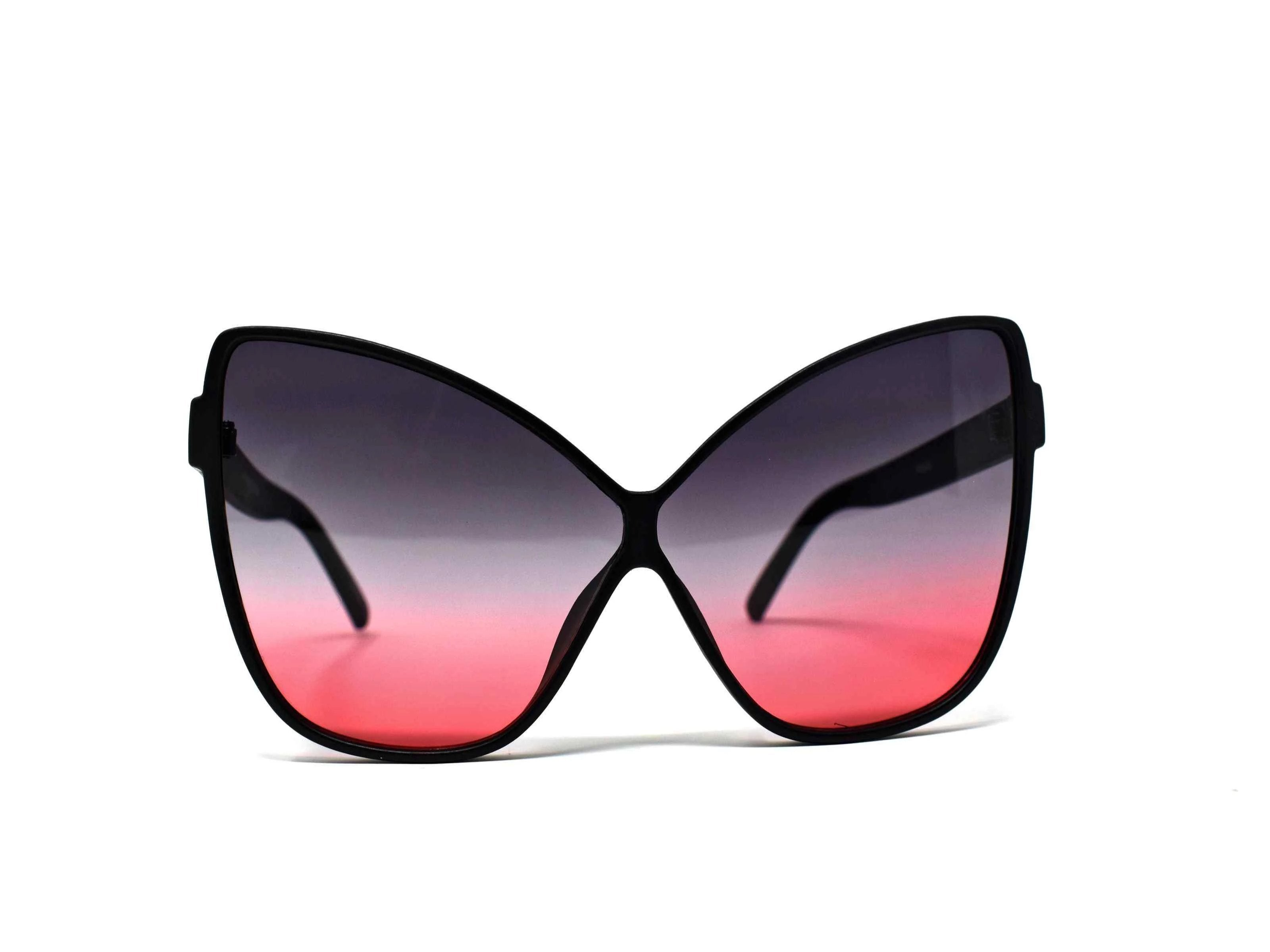 Our dahlia matte black cat eye frame with a black to pink ombre lens should be considered a no brainer when adding a touch of eye catching style.