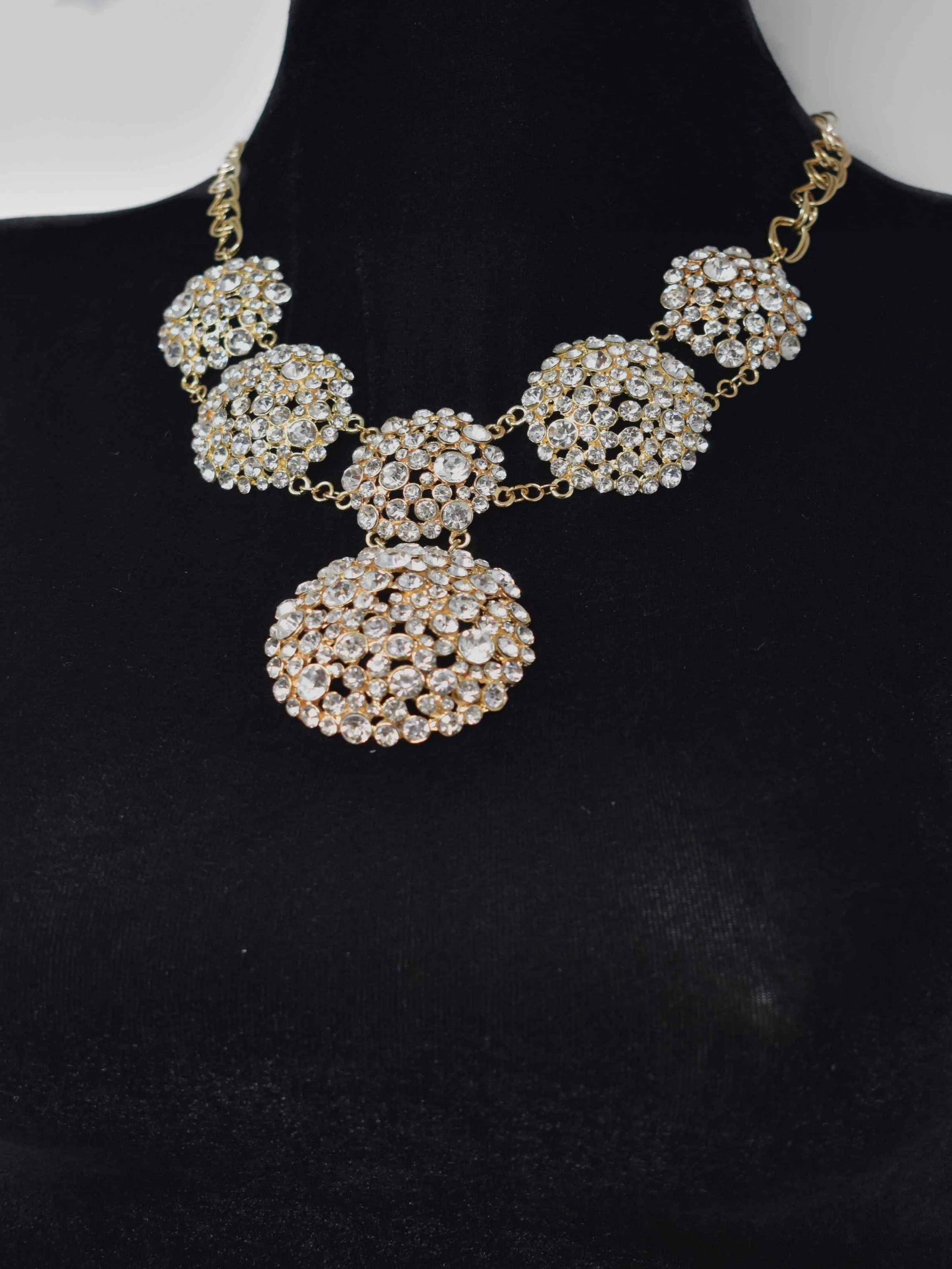 Ella Gold and Clustered Stones Statement Necklace