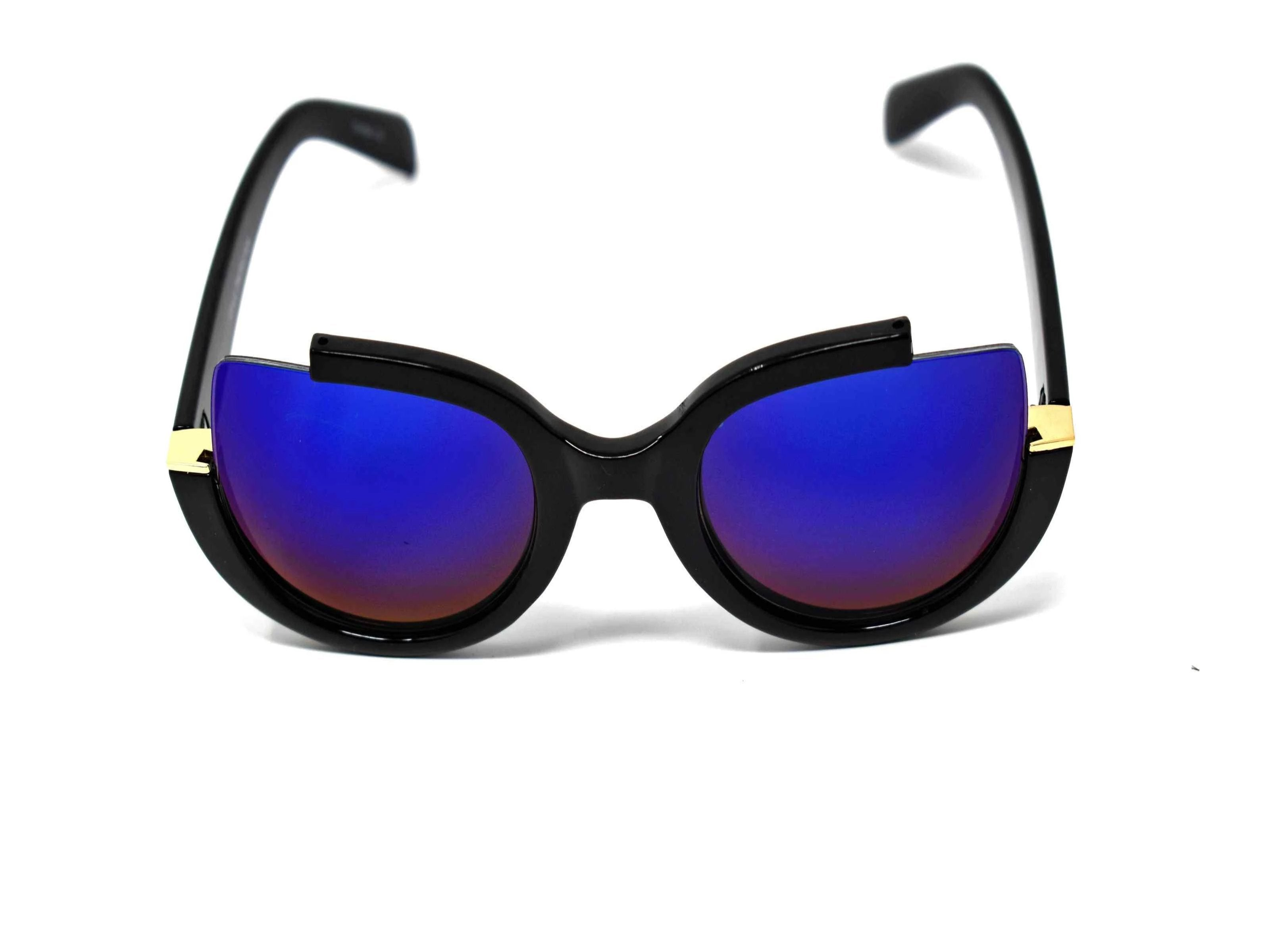 Stunning and stylish is the best way to describe our Larkspur Black cut out frame  blue mirrored sunglasses.
