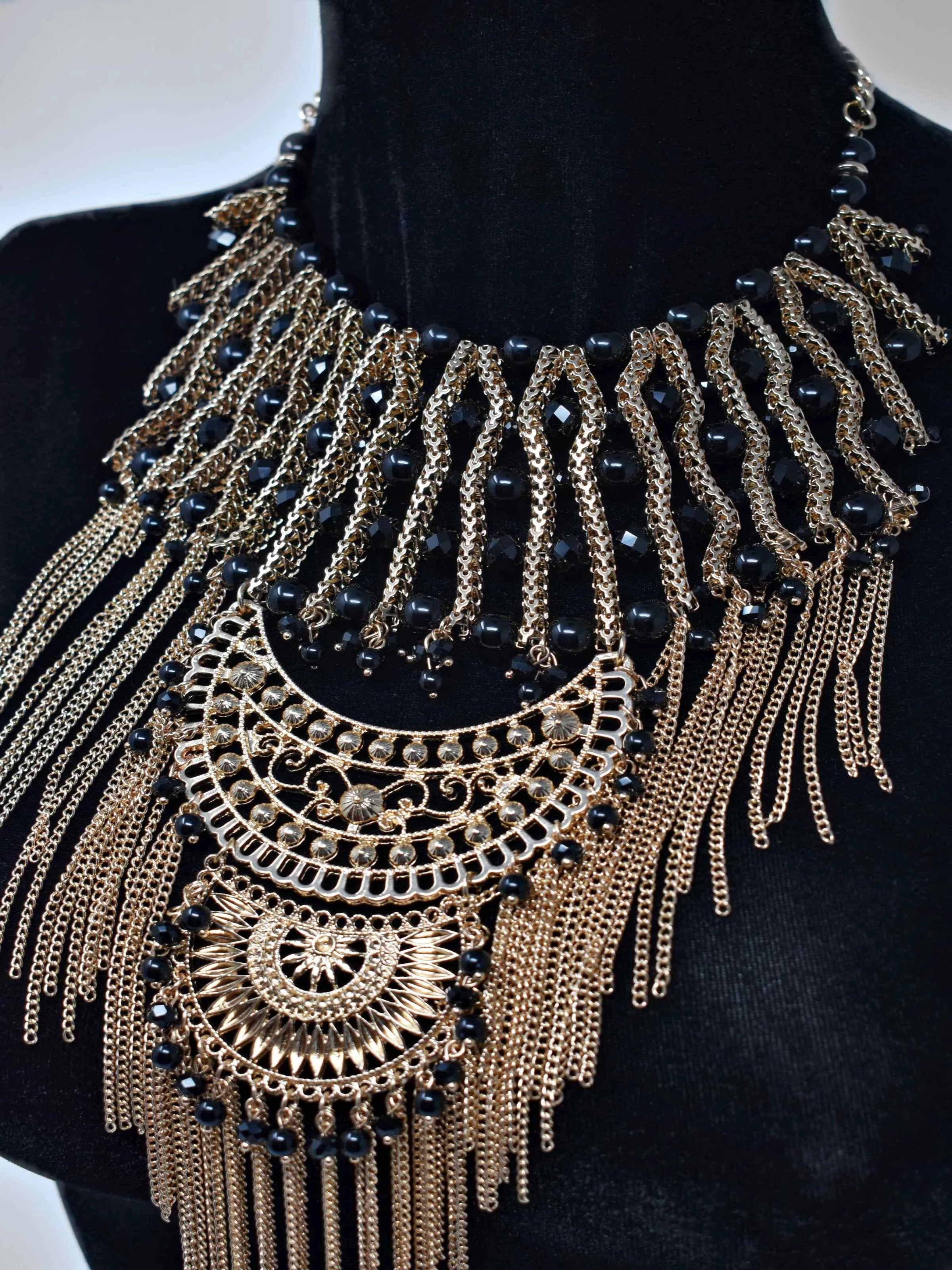 Onia Gold and Black Statement Necklace