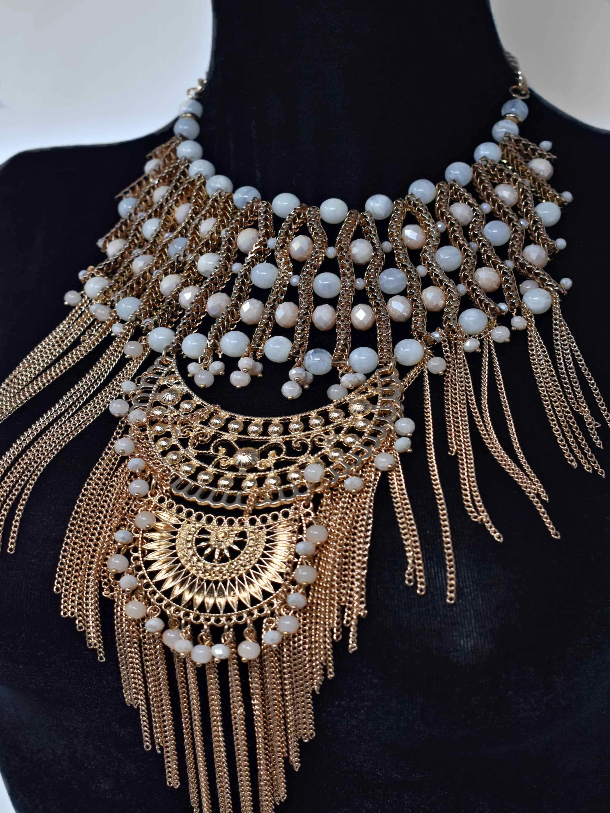 Onia Gold and Cream Statement Necklace