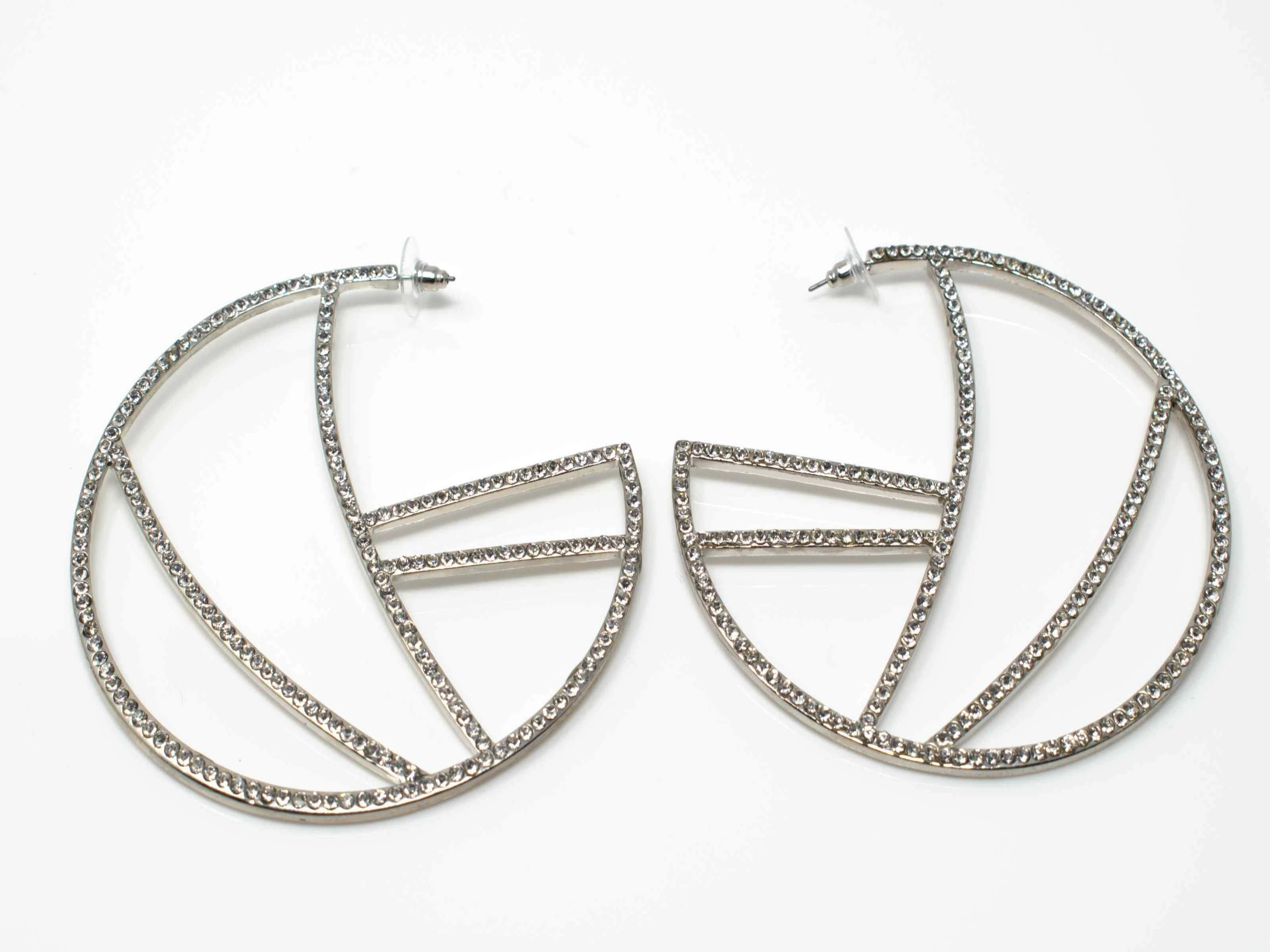 Patrica Silver Hoop Dangle Earrings