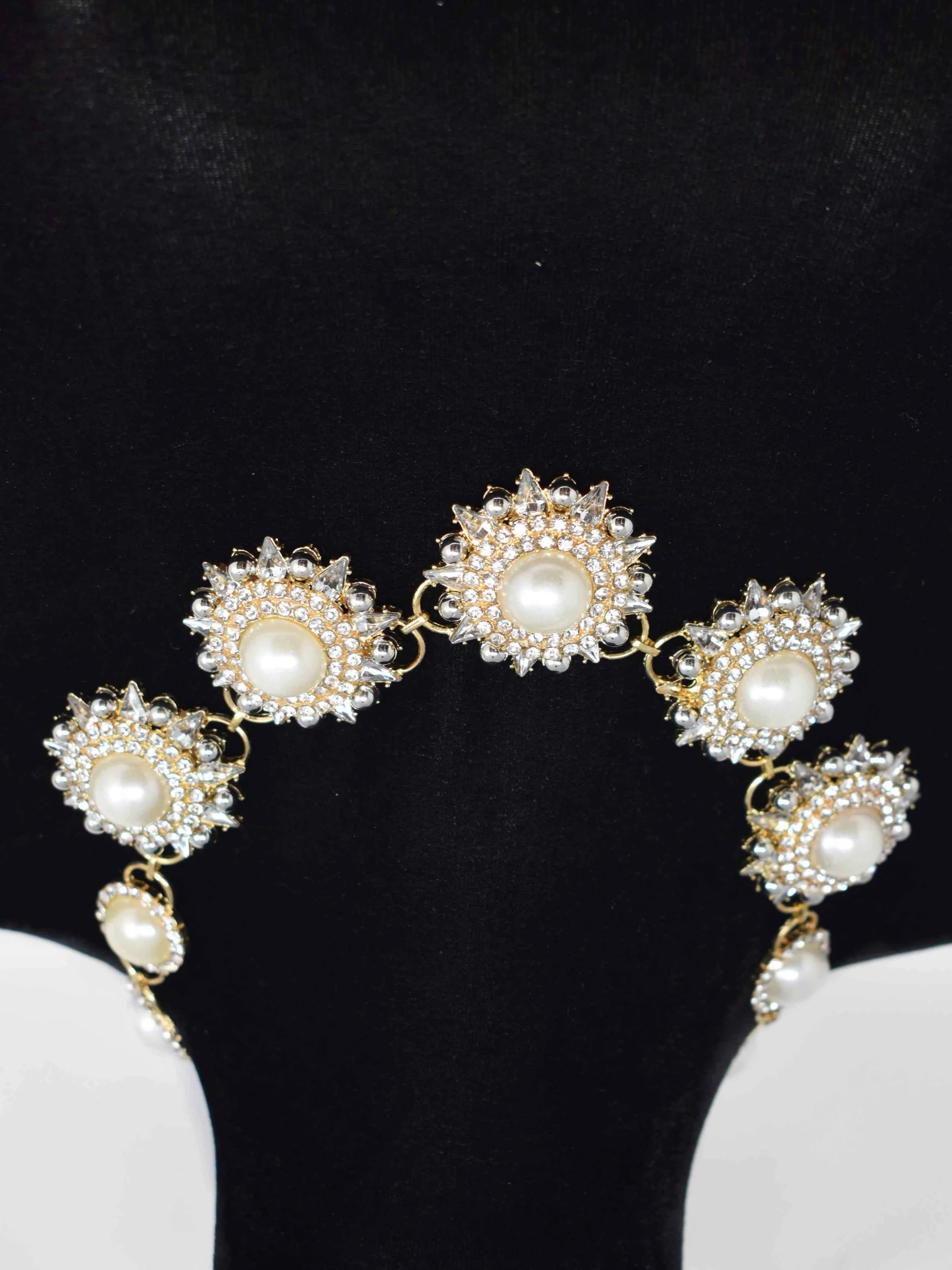Rica Gold and Pearl Floral Statement Necklace