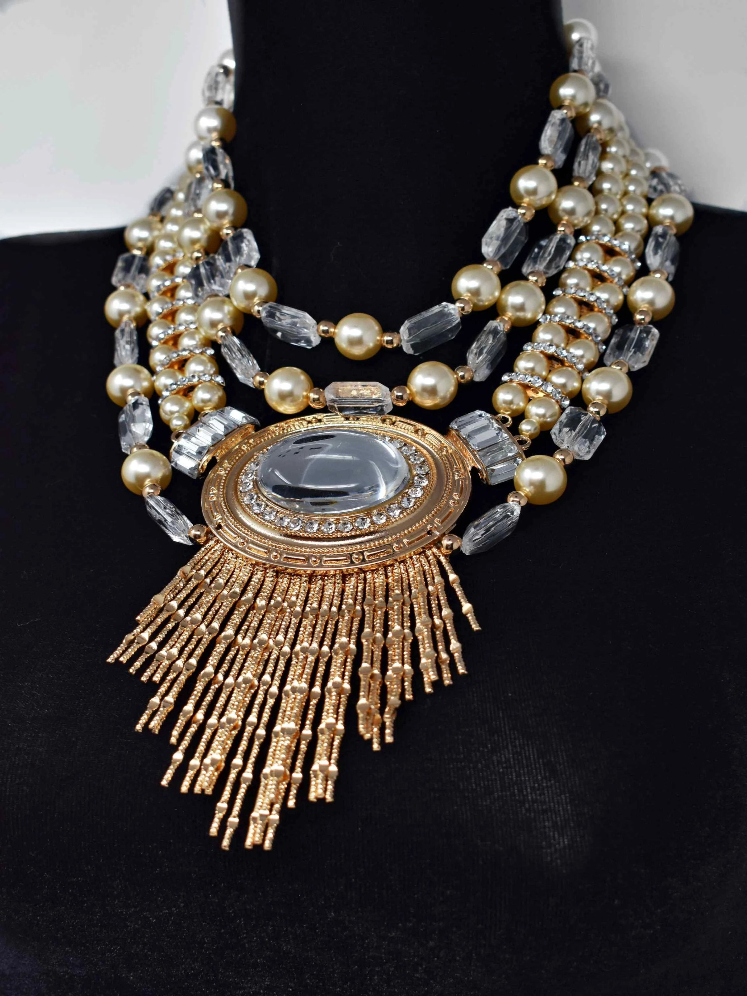 Rium Gold and Pearl Statement Necklace