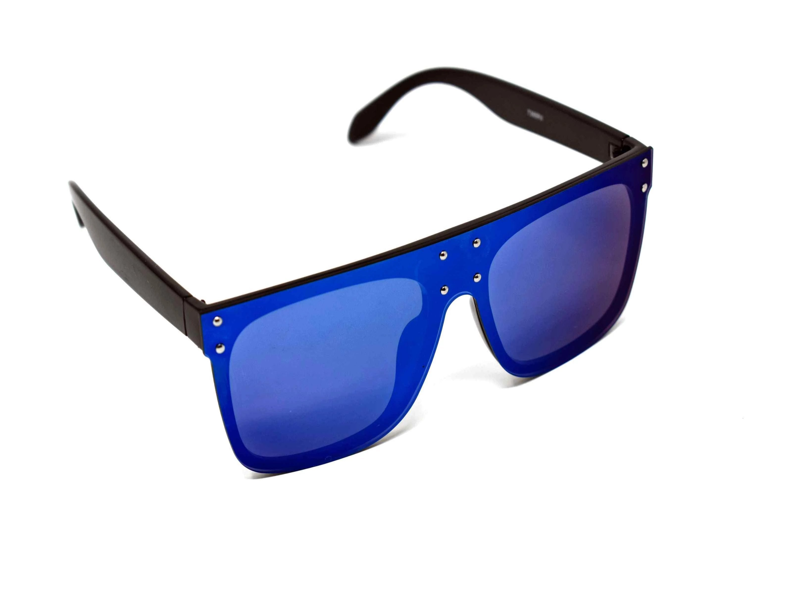 Fashion forward and edgy is what you call our shield shaped Rosa Black framed blue mirrored lens Sunglasses.