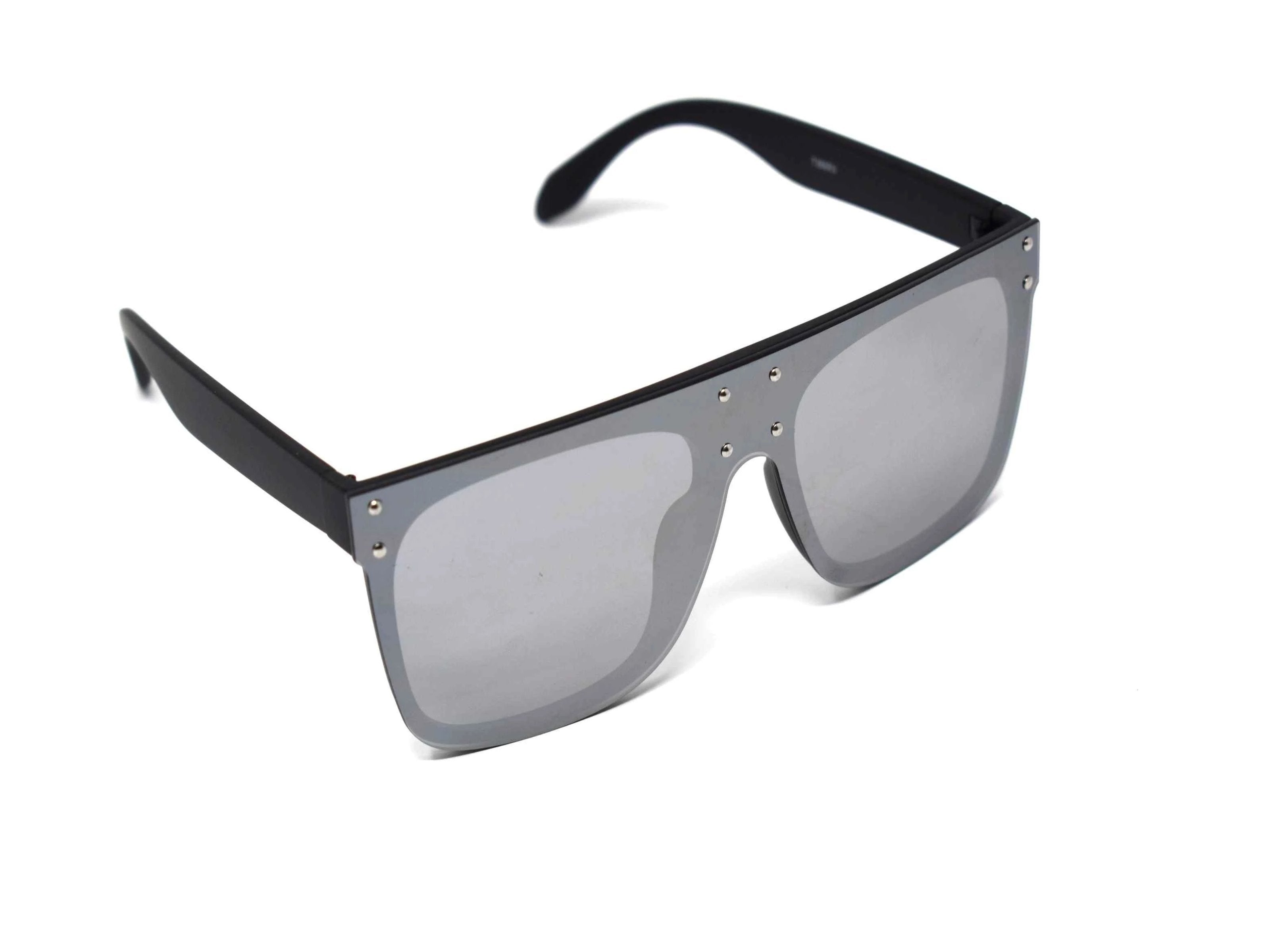 Fashion forward and edgy is what you call our shield shaped Rosa black framed silver mirrored Sunglasses.