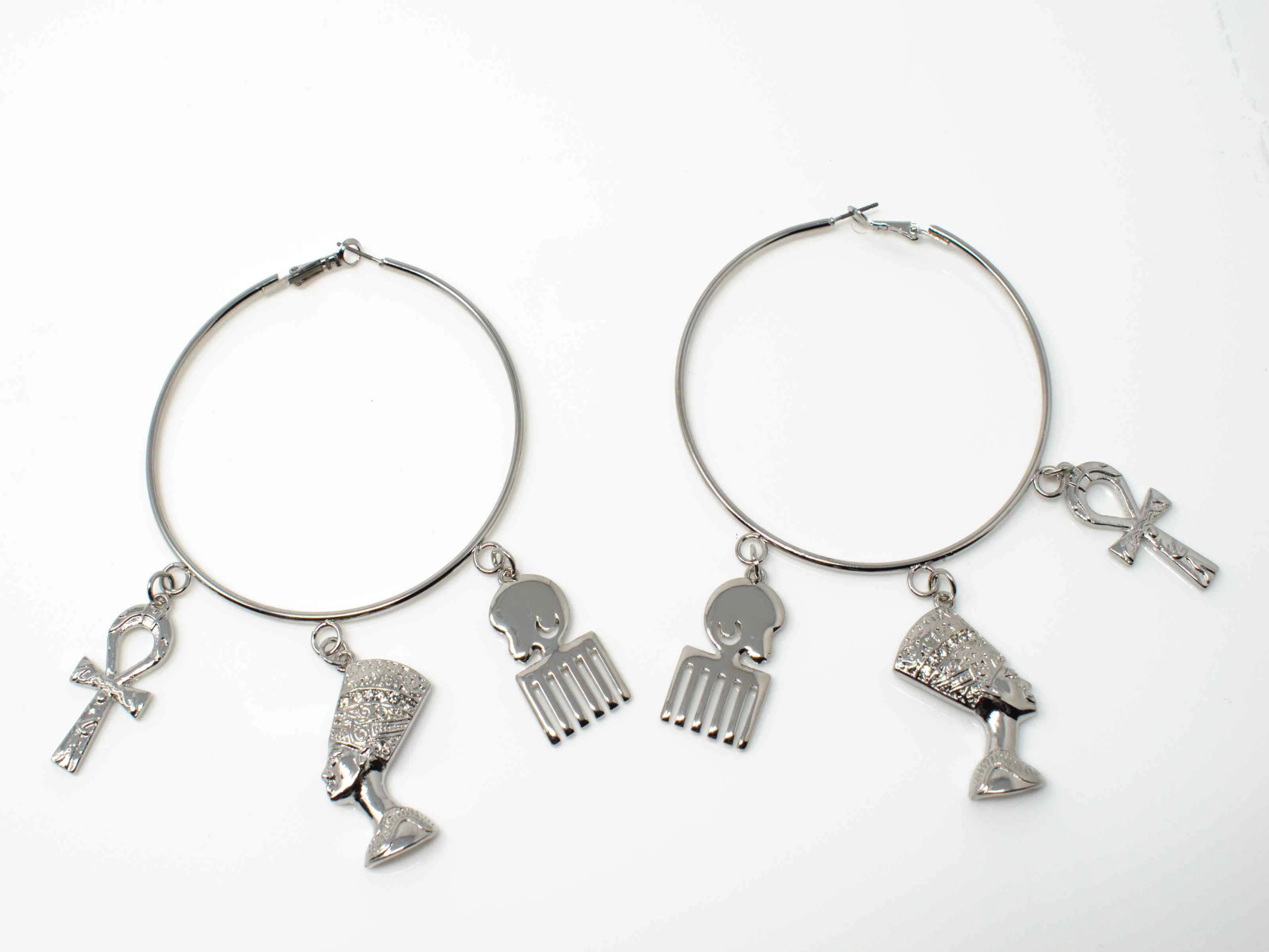 Rose Afro Chic Silver Hoop Earrings
