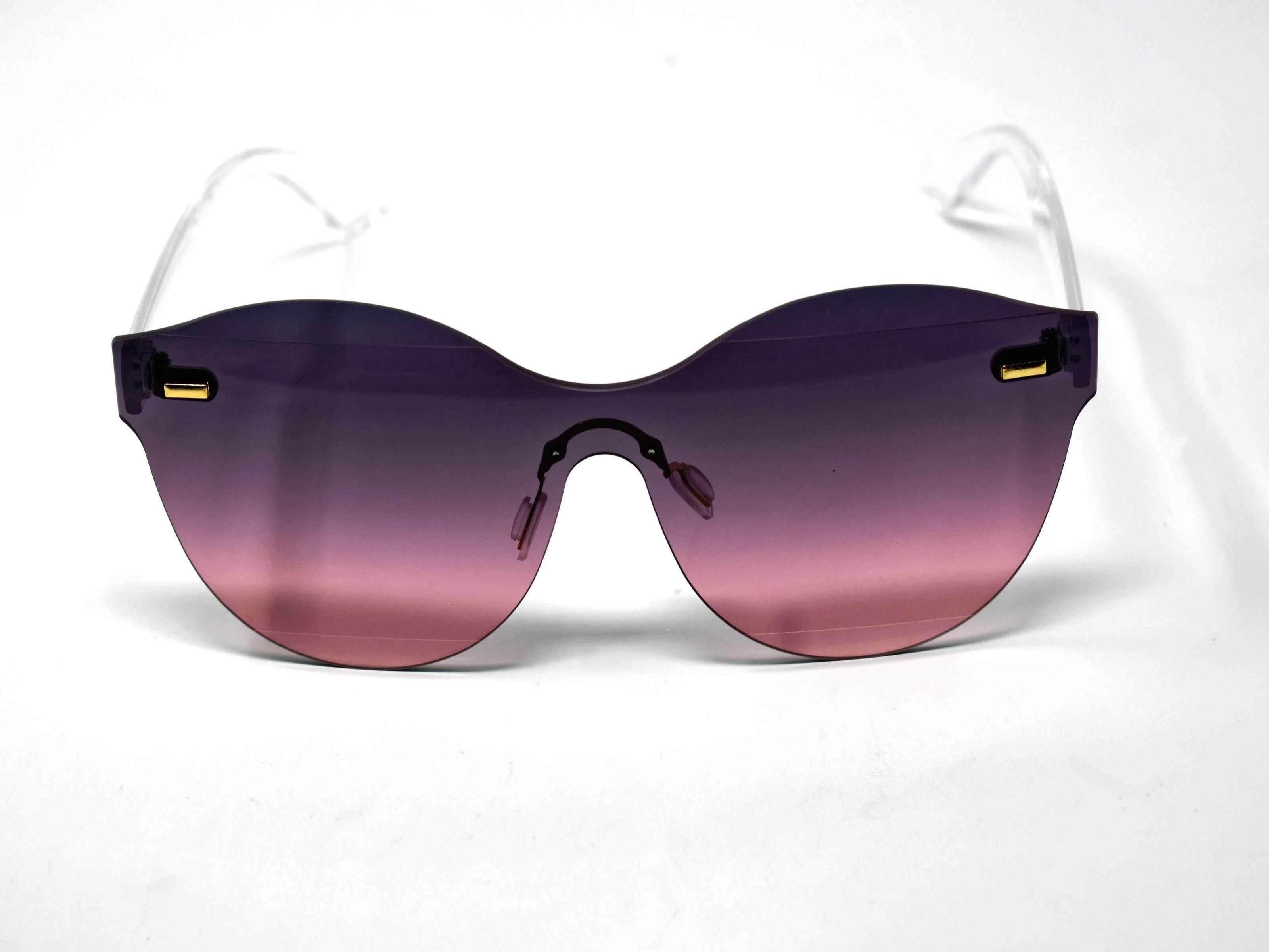 Its just a good vibe in these sage no rim sunglass frames with a plum to pink ombre lens.