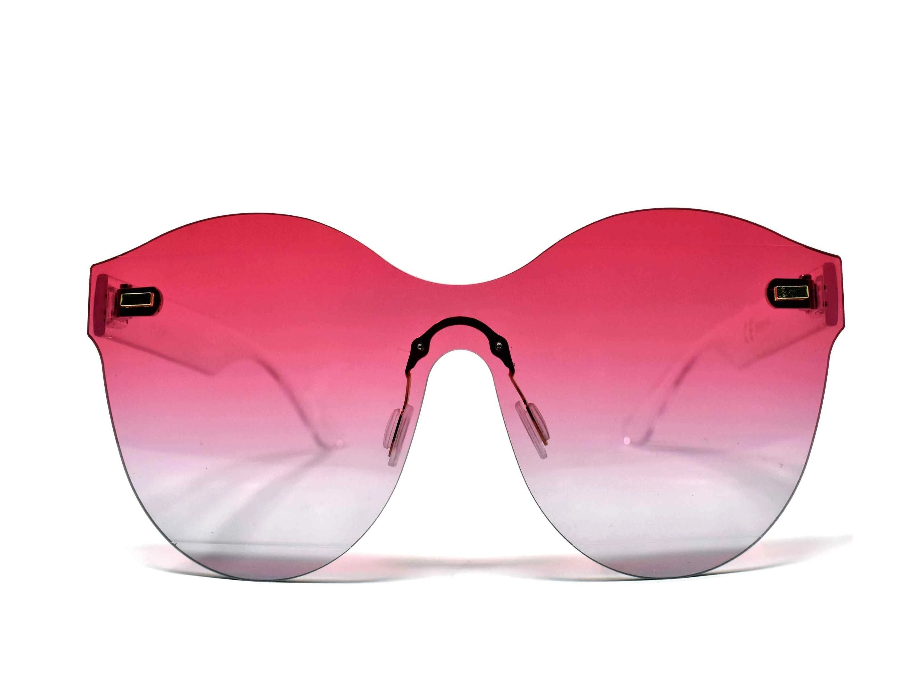Its just a good vibe in these sage no rim sunglass frames with a pink to purple ombre lens.