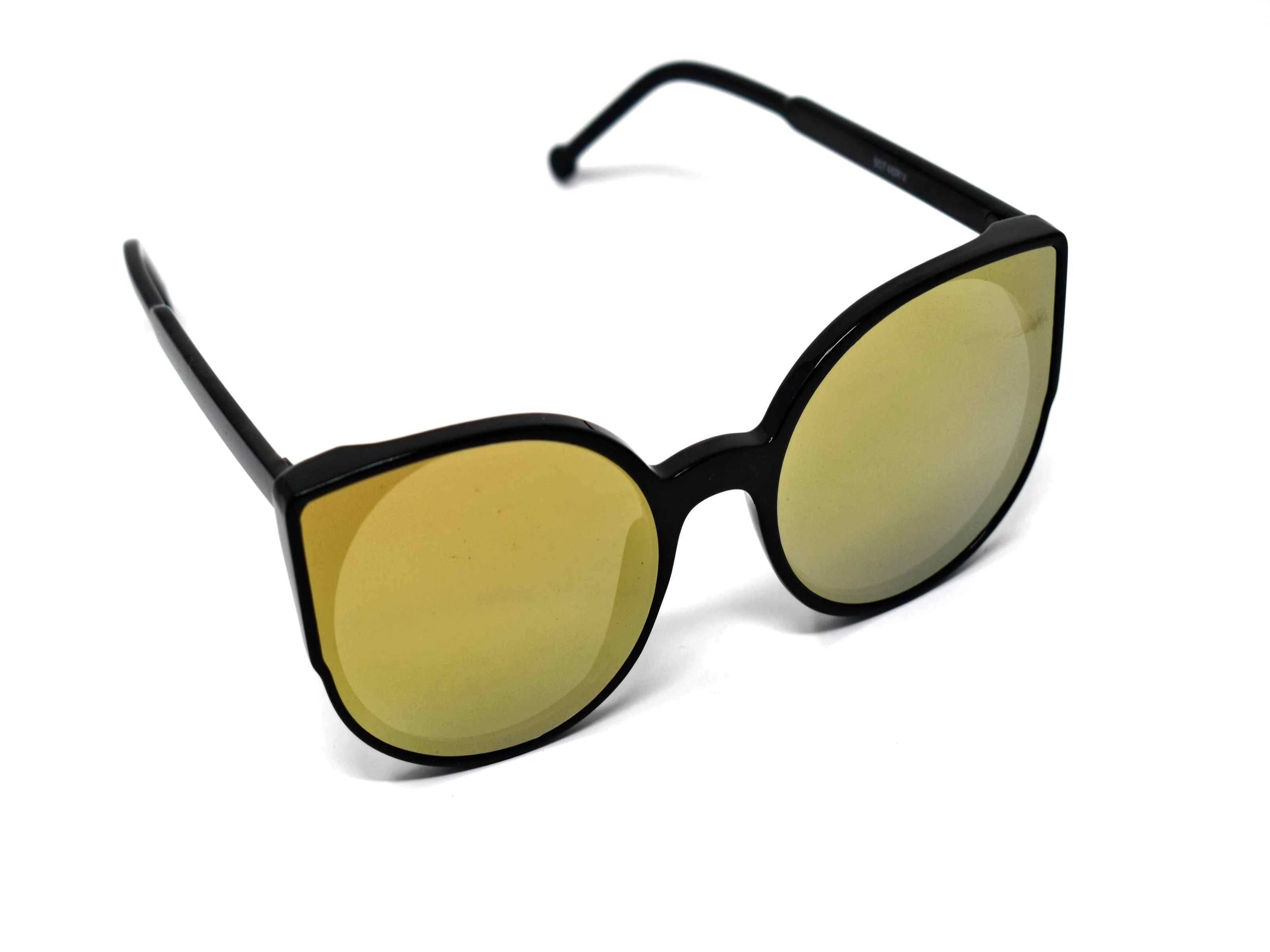 Say hello to our stylish Tansy black framed sunglasses with gold mirrored lens and a cat eye shape.