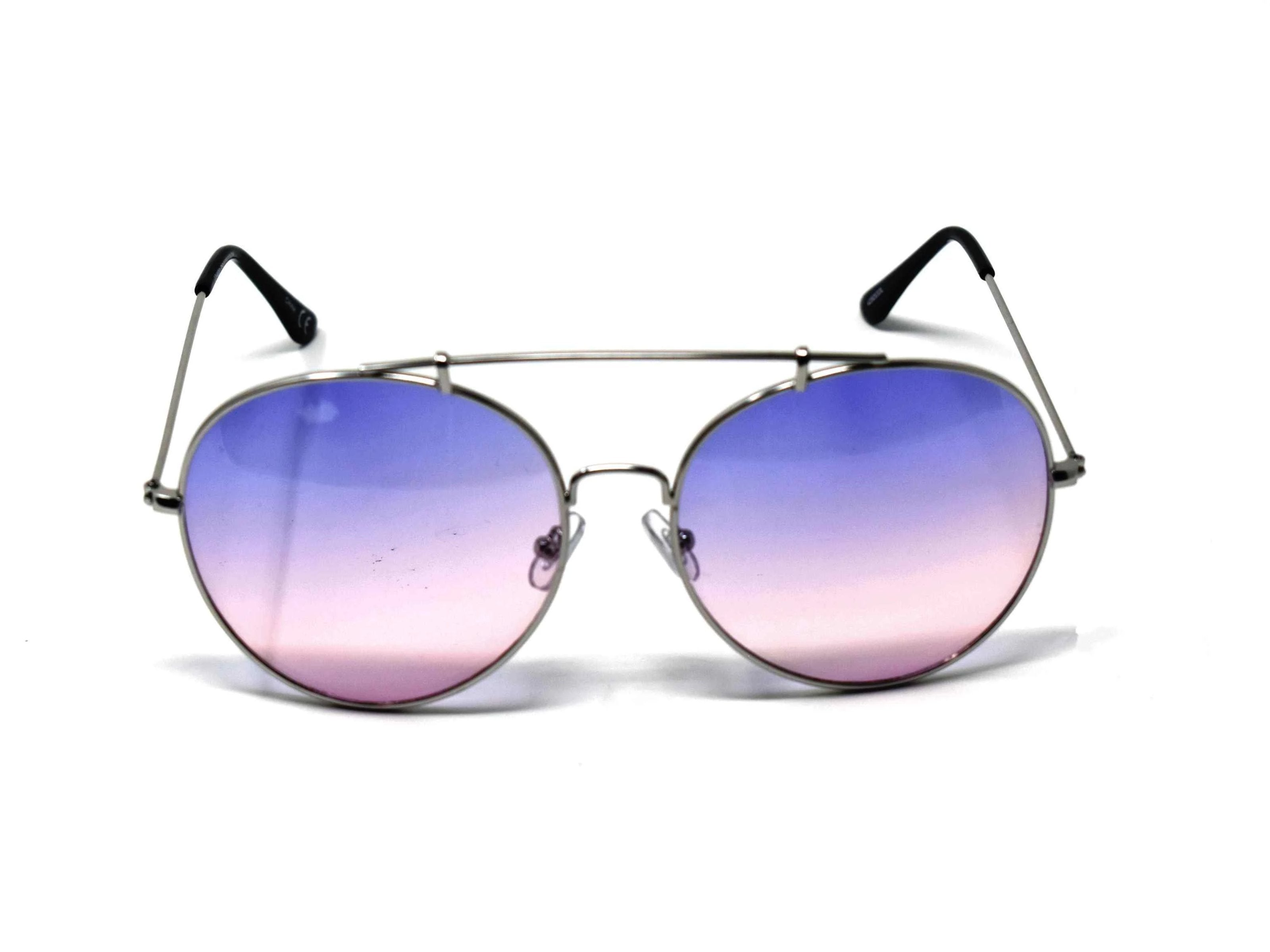 Va Va Voom will be consistently heard in these Vervain silver frame aviator Purple and Pink ombre lens sunglasses.